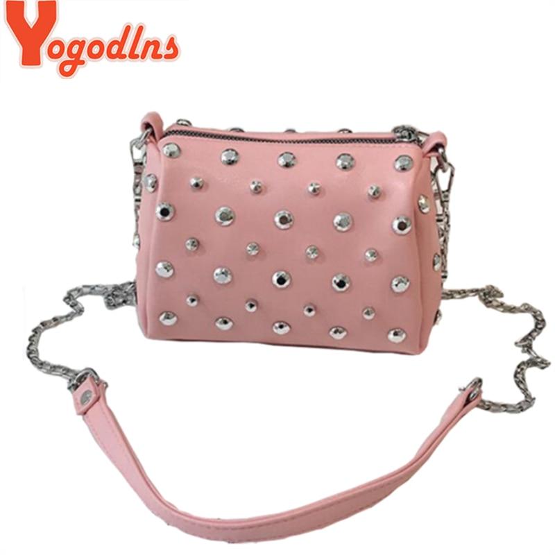Yogodlns Bags For Women New Fashion Rivet PU Leather Women Bag Diamonds Shoulder Messenger Bag Chains Small Flap Crossbody Bag
