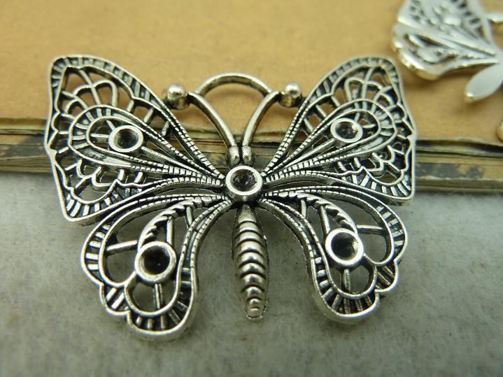 ea8085c248000 10 pcs acessórios de moda de Prata Antigo Do Vintage Borboleta Pingente  Encanto Descobertas Jóias DIY Fazendo