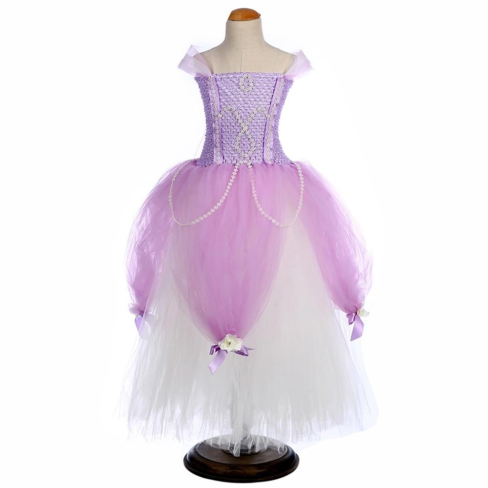 Princess Sofia Tutu Dress for Kids Girl Birthday Party Floor Length Dresses with Flowers Knot Children