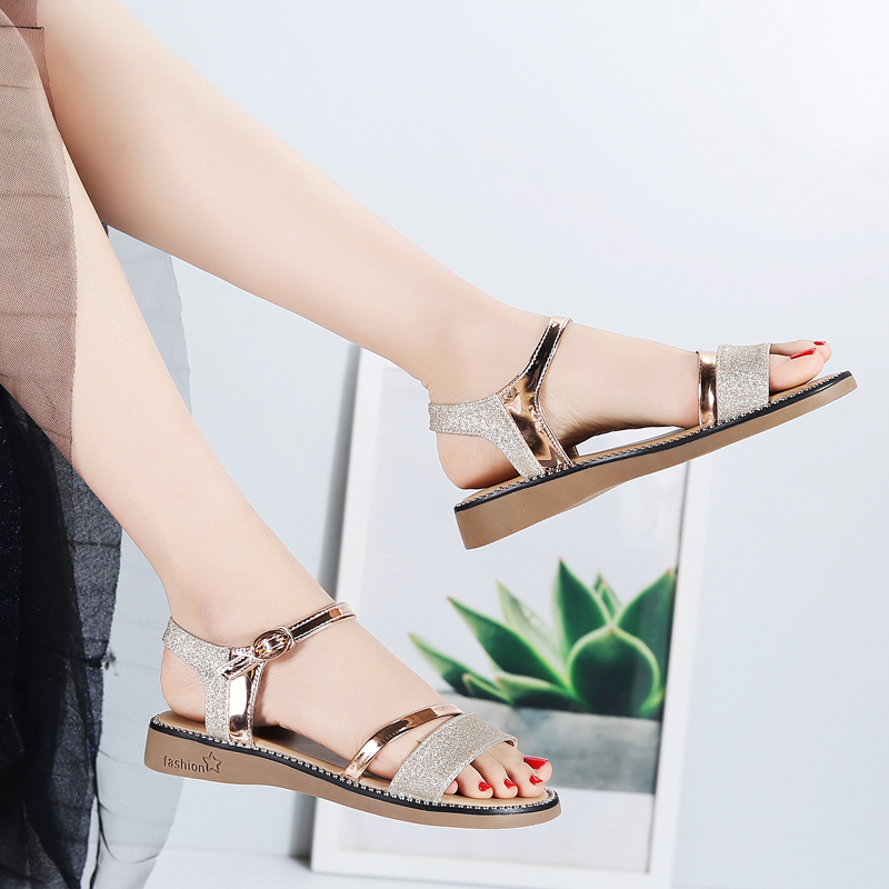 Image 3 - STQ 2020 Summer Women Sandals Black Gold Flat Sandals Women Rubber Beach Flip Flops Ladies Flat Heel Gladiator Sandals YY366Low Heels   -