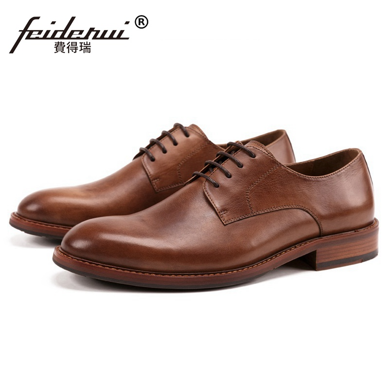 New Basic Genuine Leather Wedding Party Men's Handmade Footwear Vintage Round Toe Derby Formal Dress Banquet Man Shoes SS264 plus size hot sale pointed toe derby man banquet footwear fashion genuine leather wedding party men s formal dress shoes sl451