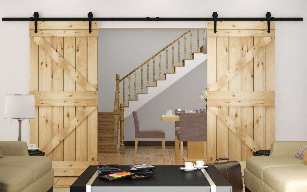 Modern double rustic barn door kits sliding track hardware for Kit decoration porte isoplane
