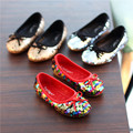 2017 spring new kids shinning shoes Fashion cute flat girls princess toddler shoes Super soft and comfortable child Sequin shoe