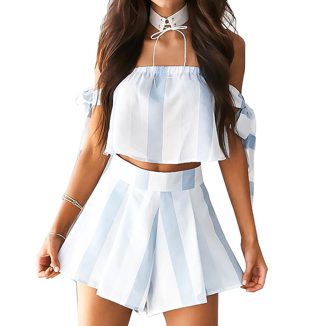 white bow stripe elegant jumpsuit romper Off shoulder two piece suit overalls Sexy summer beach playsuit women outfit Playsuit