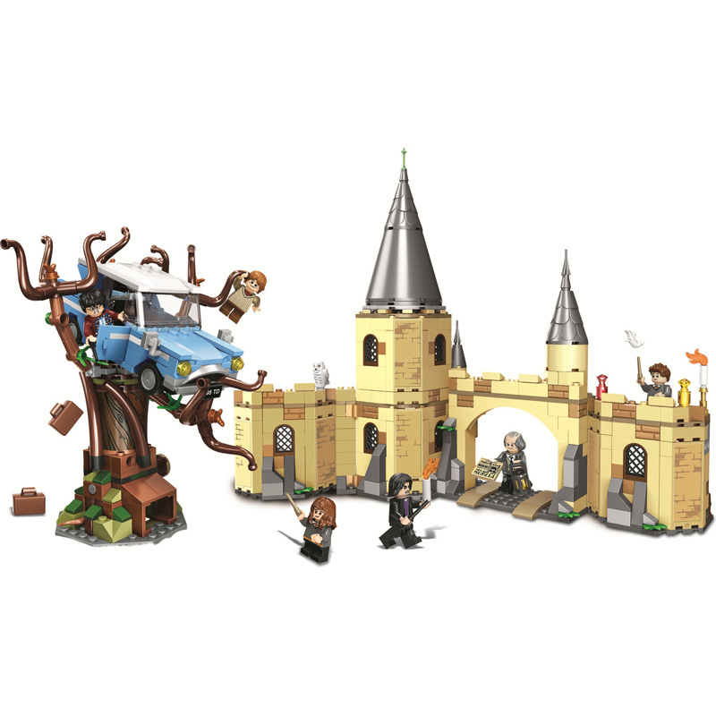 New 843pcs Compatible Harri bricks Potter Hogwarts Whomping Willow Building Blocks Toys for Kids Gifts Christmas