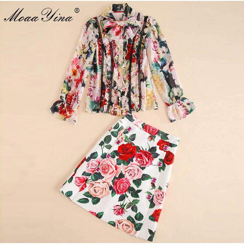 MoaaYina Fashion Designer Set Zomer Vrouwen Lange mouw Rose Bloemen Print Kant Ruches Elegante Top + Korte rok Twee stuk pak-in Sets voor dames van Dames Kleding op  Groep 3