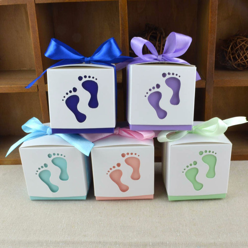 50pcs/lot Baby Foot Candy Box Baby Shower Paper Sweet Bag Footprints On The Beach Favour Boxes Baptism Candy Container
