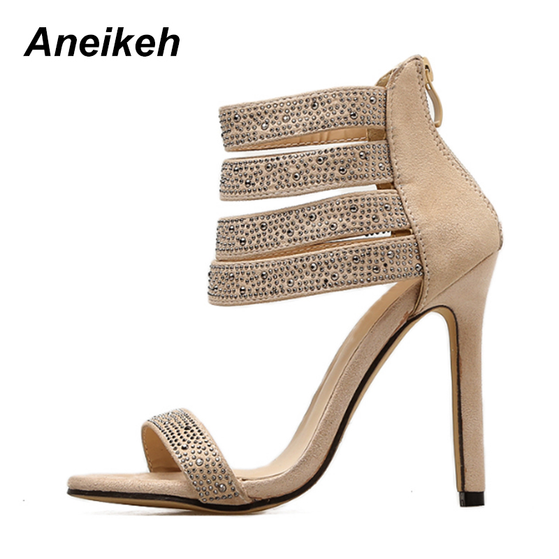 8dc26b158b8 Aneikeh Elegant Crystal Embellished High Heel Sandals Cut out Peep Toe  Ankle Strap Dress Shoes For Women Back Zipper Cage Shoes-in High Heels from  Shoes on ...