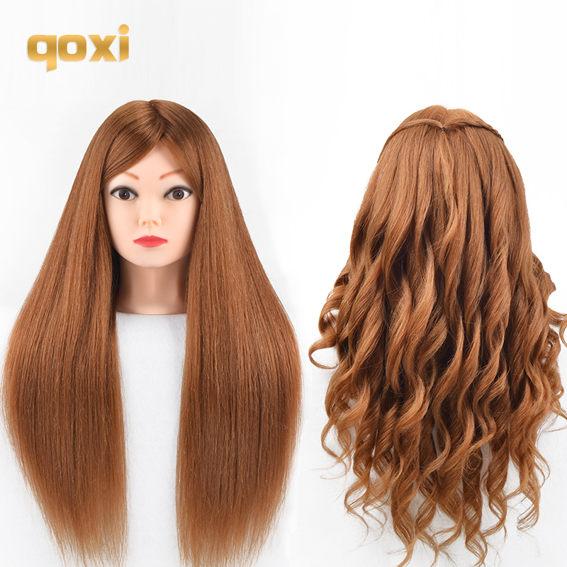 Qoxi Professional Training Heads With 80% Real Human Hairs Can Be Curled Practice Hairdressing Mannequin Makeup Styling Dolls