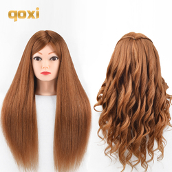 Qoxi cabezas de entrenamiento profesional con pelo humano 60% real se puede rizar la práctica de la peluquería maniquí maquillaje estilismo muñecas
