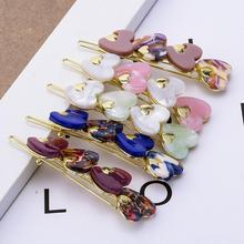 Fashion INS Sweet Hairdressing Clip Love Acrylic Alloy Painted Bangs Side Headdress for Women Jewelry