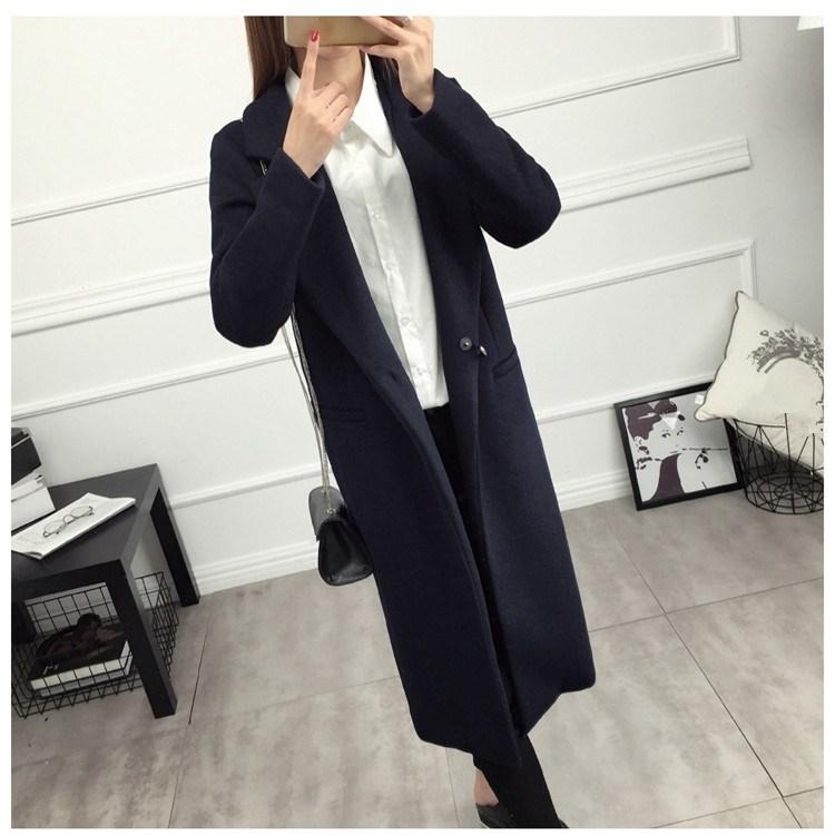 2018 New Autumn Winter Women Woolen Coat Fashion Dark Button Long Woolen Coat Solid Female Navy Blue Plus Size Outerwear