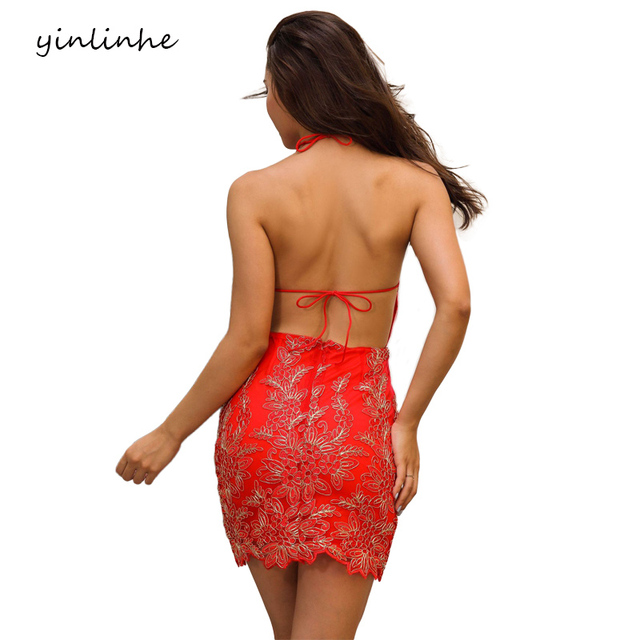 yinlinhe Halter Red Lace Dress Summer Women backless Sexy Dress Club Wear Tied Sleeveless Floral Embroidery Party Robe      089