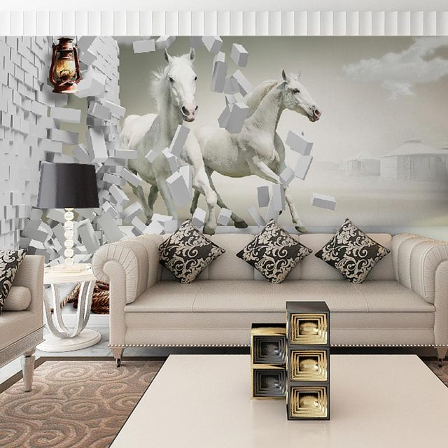 Home Decor Living Room Mural Wall Papers 3d Vintage Brick Wall White Horse  Photo Wallpaper Part 86