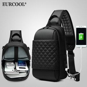 """Image 5 - EURCOOL שליח תיק לגברים שחור Crossbody שקיות גברים עבור 7.9 """"iPad עמיד למים כתף תיק USB טעינת חבילת חזה n1903"""