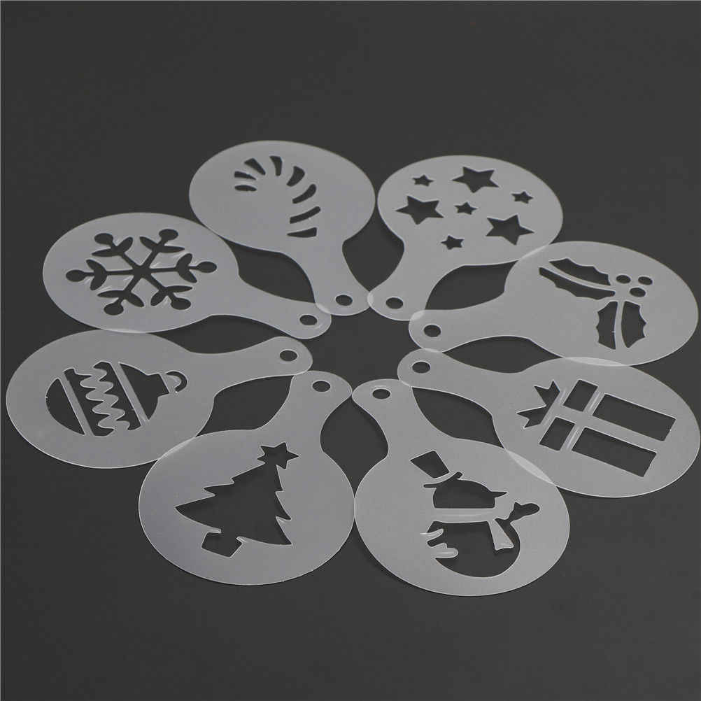 8Pcs/set Christmas Cookie Stencil Coffee Latte Cappuccino Barista Art Stencils Cake Duster Templates Coffee Tools Accessories