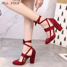 ALL YIXIE 2019 Summer New Fashion Large Size Womens Strap High Heels Sandals Casual Wild Ladies Party Wedding Shoes