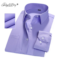 DAVYDAISY 2019 New Men Shirt Long Sleeve Gentleman Formal Twill Solid Male Fit Brand Classical Business Dress Shirt Man DS047 Dress Shirts
