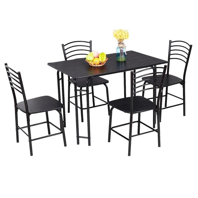 5 pièces moderne à manger en acier cadre maison cuisine meubles solide MDF panneau en acier cadre à manger meubles ensemble facile assemblage HW54791