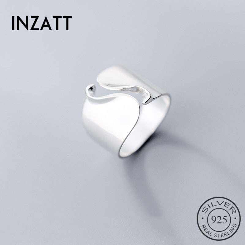 INZATT Real 925 Sterling Silver Minimalist Wave Wide Opening Ring For Fashion Women Party Elegant Lines OL Fine Jewelry Gift