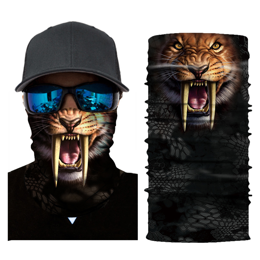 Animal Mask 2019 New 9 Designs 3D Digital Cartoon Animal Print Breathable Sun-Proof Cycling Face Mask Headscarf Men's Headband