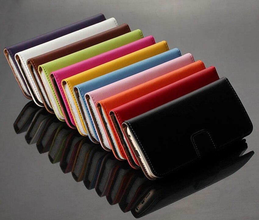 Äkta äkta läder plånbok väska Magnetlås Kickstand Flip baksida - Reservdelar och tillbehör för mobiltelefoner - Foto 2