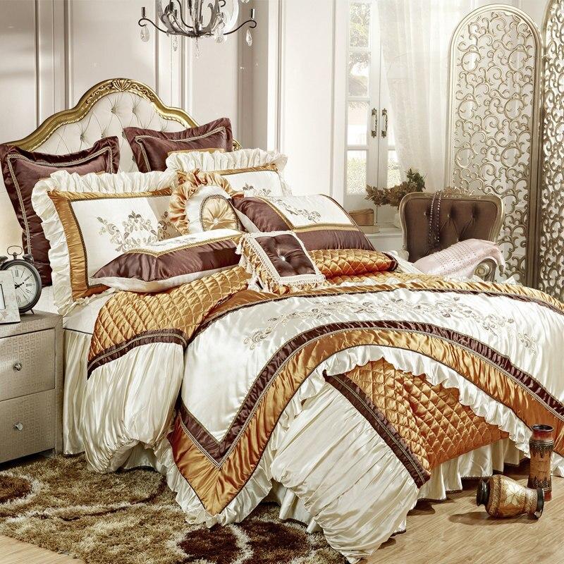 Golden Solid Silk Embroidered Floral Border 11pcs Bedding