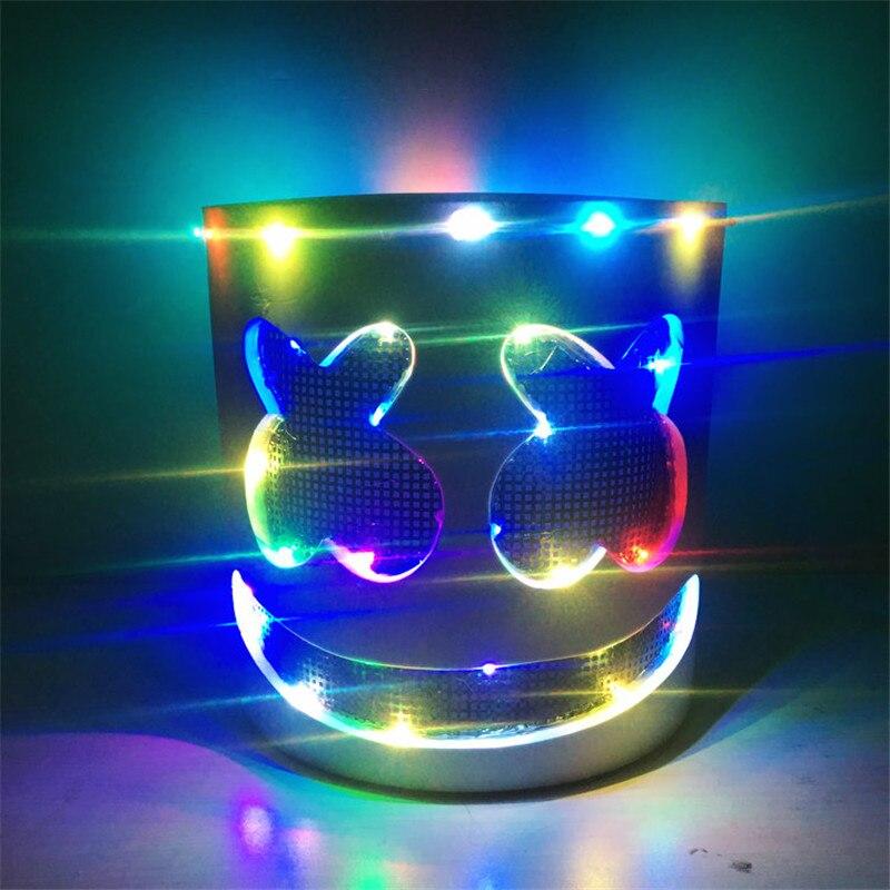 Flash lumière LED DJ Marshmello masque coloré lumineux pleine tête casque musique Fans masques Disco Bar Halloween fête masques Cosplay