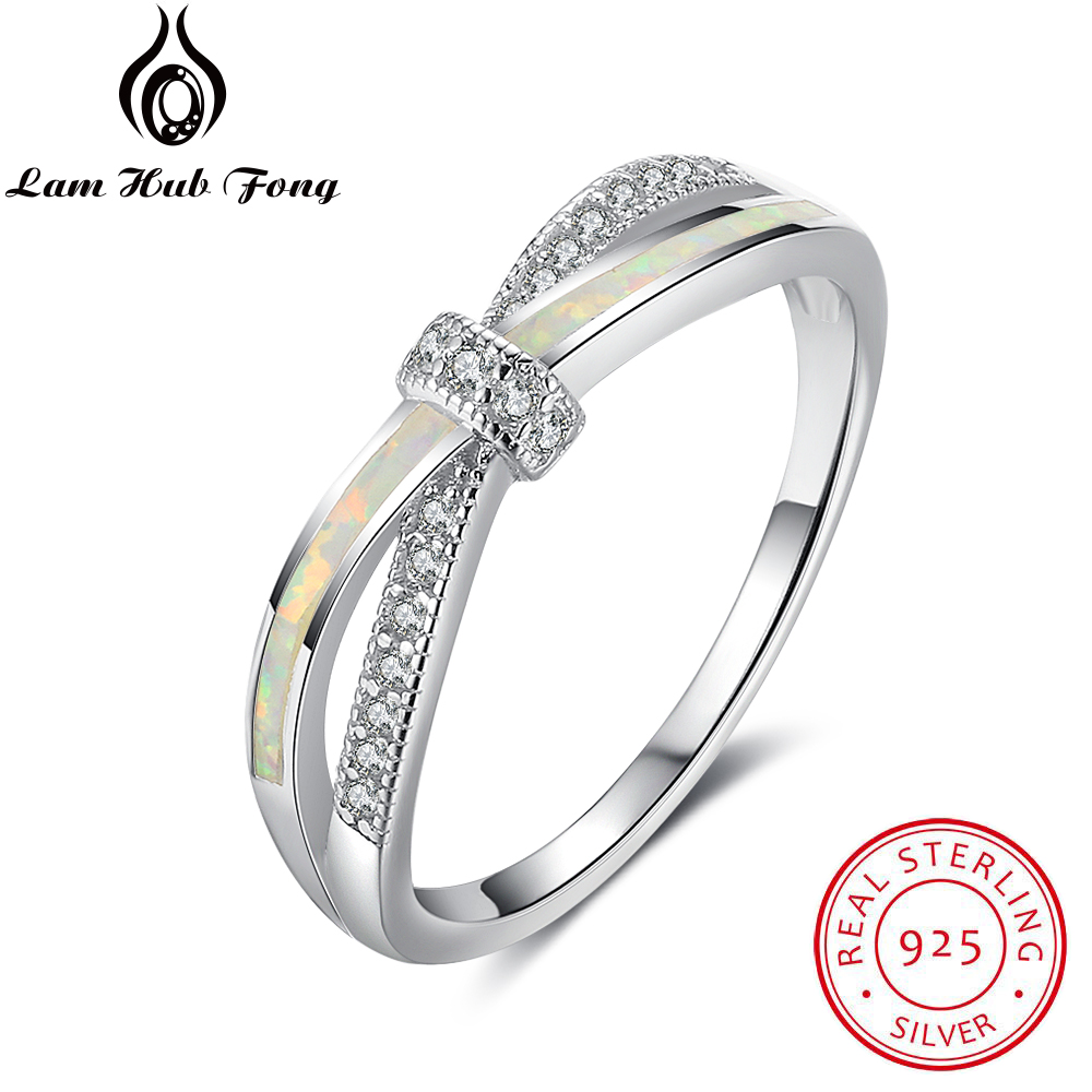 Knot Design Real Pure 925 Sterling Silver Rings For Women Girls White Fire Opal & Cubic Zirconia Jewelry (Lam Hub Fong RI102938)