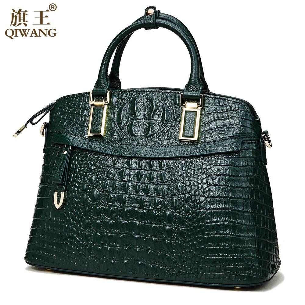 QIWANG Marque sac pour femme Crocodile dessus cuir poignée de sacs Marque Femmes sac à main de créateur 100% Véritables Femmes En Cuir de Vache Sac