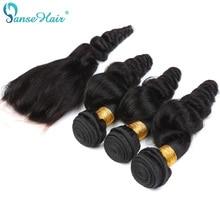 Panse Plaukų Peru Plaukai Plaukai Plaukai 4 Paketai Plaukai su uždara 4X4 Individualizuota 8 iki 28 colių 100% Žmogaus Plaukai Non Remy