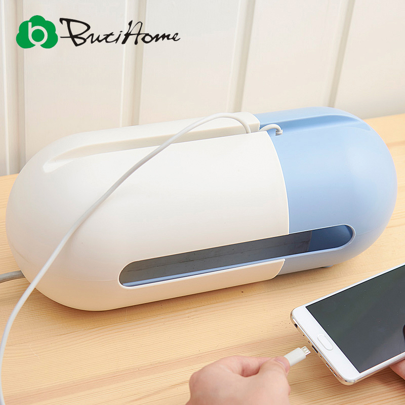 Butihome Oval-shaped Telescopic Power Supply Multi-color Storage Box Mobile Phone Shelves Desktop Storage Household Organzier