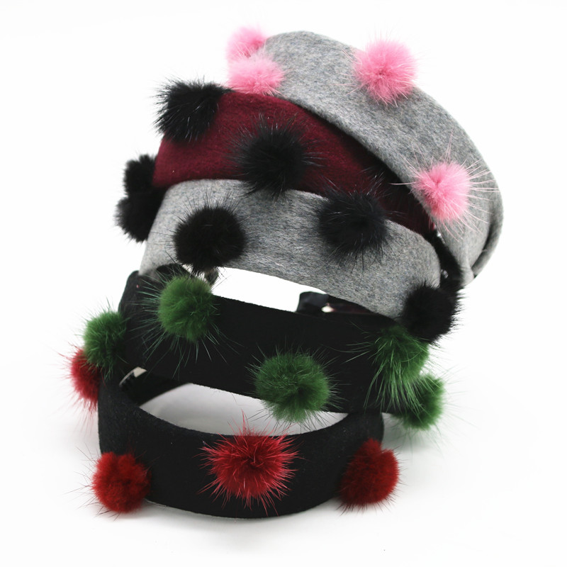 NEW WINTER STYLE Wool Fabric Flat Design With Fur Pompom Fashion Girls Headbands Hair Accessories