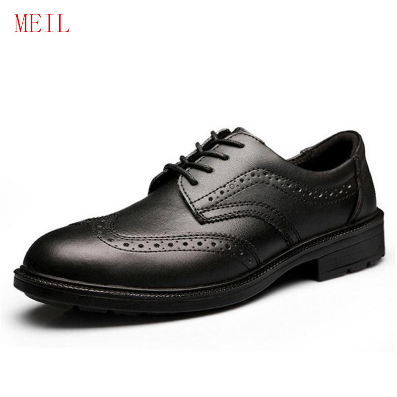 2019 Men's Genuine Leather Work Safety Shoes Classic Office Brogue Steel Toe Shoes Flats Light Weight Work Formal Shoes Oxfords