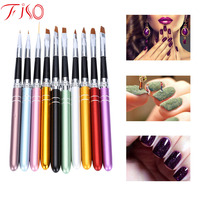 Original 10Pcs Lot Nail Art Brush Set 10 Colors Different Sizes Copper Handle Design Polish Nylon