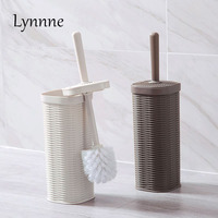 Lynnne Toilet Brush With Stand Set Imitation Rattan Creative Bathroom Toilet Brush Scrubber Holder Plastic Cleaning