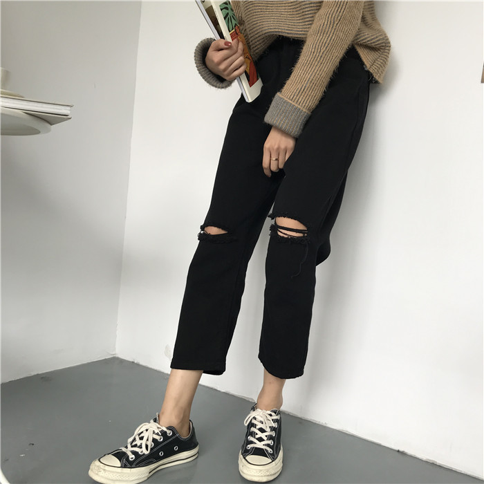 18 Summer Style Black White Hole Ripped Jeans Women Straight Denim High Waist Pants Capris Female Casual Loose Jeans 16