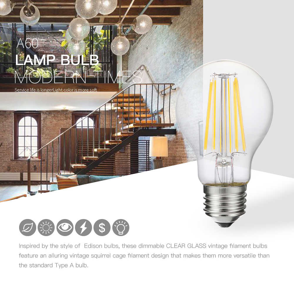 Luckyled lâmpada led e27 pode ser escurecido 2 w 4 6 8 a60 retro filamento lâmpada luz 220 v 240 v edison vintage lâmpadas bola de vidro bombillas