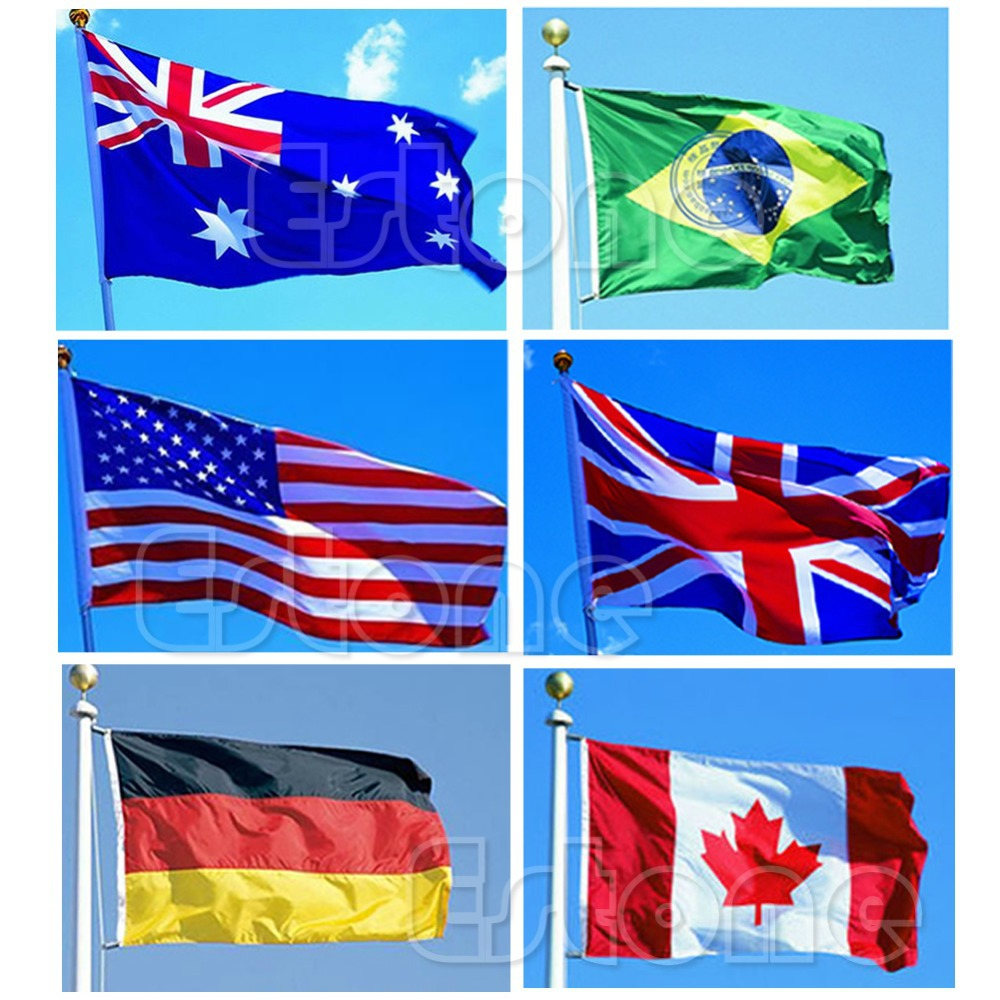 10pcs lot national flag country flag stick flags flag of the united - G104 Indoor Outdoor 3x5 Feet Country Banner National Flag Pennants Usa Canada China