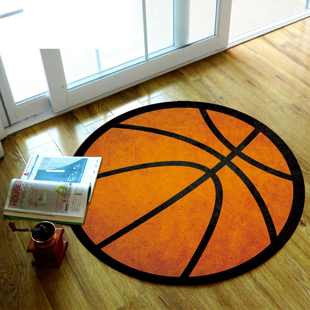 Soft Nylon Fabric Black Stripe Orange Basketball Geometry Pattern Round Rug  Living Room Bedroom Rug Computer