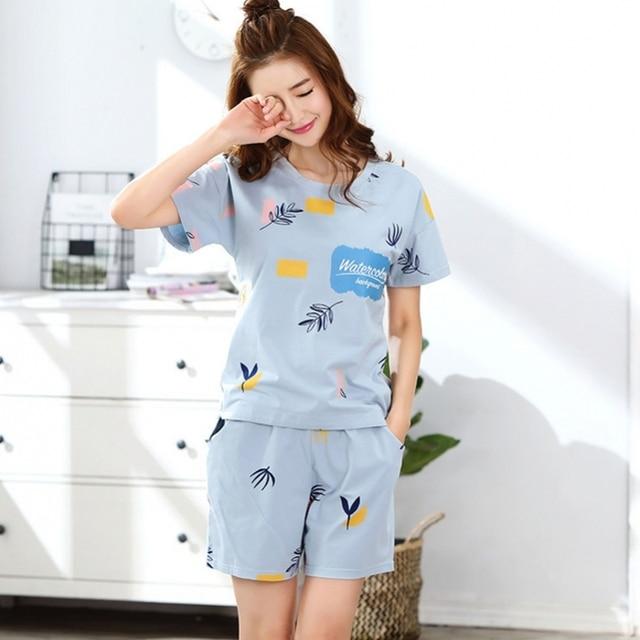 534cd3dda588 Light Blue Summer Pajamas Women Print 2 Pieces Set Pajama Set Short Sleeve  Elastic Waist Cotton