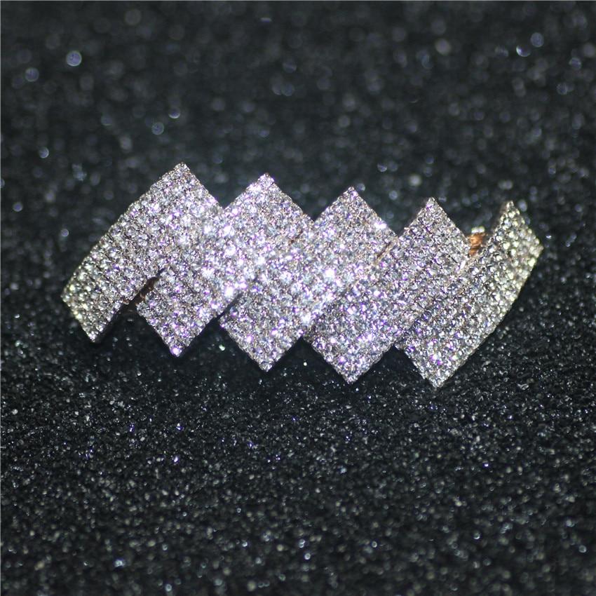 Unique Gold Color Fashion Wedding hair Jewelry Five Row Crystal hairwear for female tiara bijoux de tete bijoux Gifts FJ1822 C