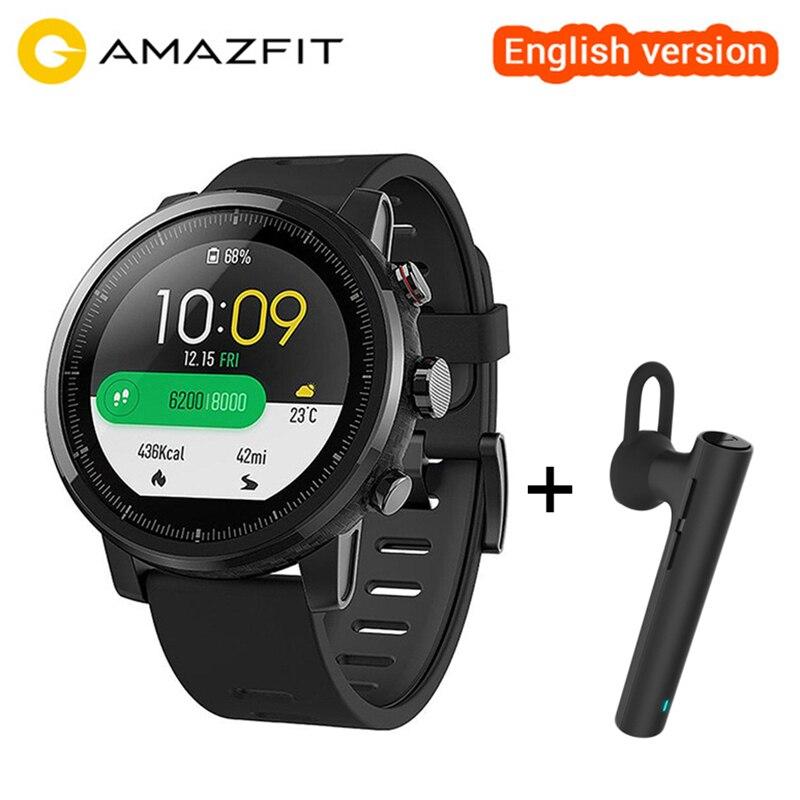 মূল সিয়াওমি হুমি অ্যামাজিট স্ট্রাটস স্মার্ট স্পোর্টস ওয়াচ 2 ইংরেজি স্মার্টওয়াচ 5ATM ওয়াটারপ্রুফ জিপিএস গ্লোনাস wristwatch