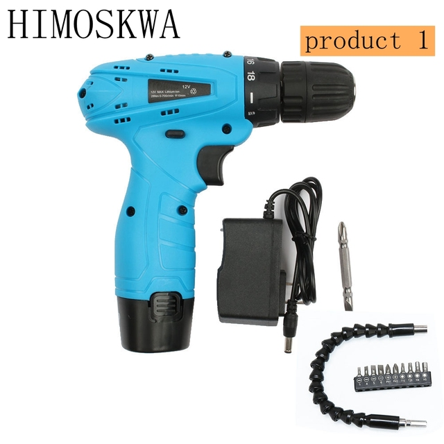 HIMOSKWA 12V Electric Screwdriver Lithium Battery with  accessories Rechargeable  Multi-function Cordless Electric Drill