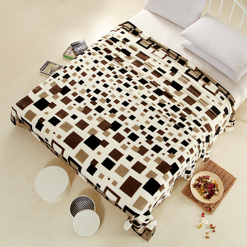 New super soft air-condition coral fleece flannel fabric blanket baby sofa throw plaid cartoon winter qulit plush bedsheet