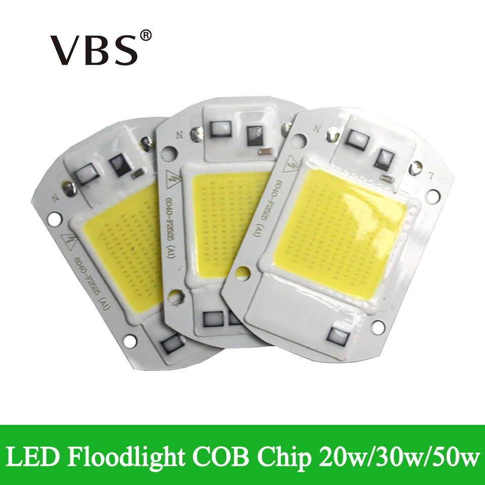 Integrated Smart IC Driver LED COB Chips High Luminous Flux IP65 20W 30W 50W AC110V 220-240V For DIY LED Floodlight Spotlight