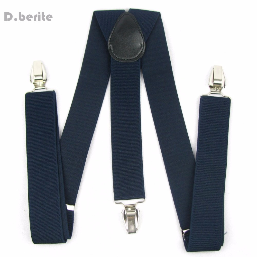 New Unisex Clip-on Suspenders Solid Navy Blue Braces Y-back Width 3.5cm  Adjustable BD908