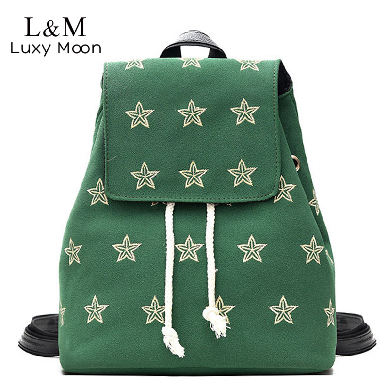 Luxy moon Embroidery Backpack Women Stars Drawstring Shoulder Bag Large Suede PU Leather Backpacks For Girls School Bags XA26H women backpacks fashion pu leather shoulder bag small backpack women embroidery dragonfly floral school bags for girls