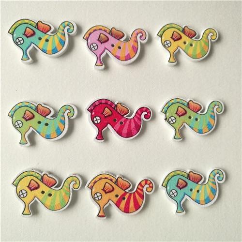 50 шт смешанные животные 2 отверстия деревянные пуговицы для скрапбукинга поделки DIY Детские аксессуары для шитья одежды пуговицы украшения - Цвет: Seahorse