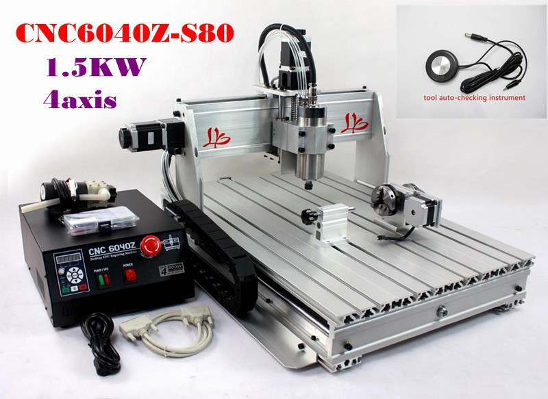 CNC 6040Z-S80 4 axis router with 1.5KW VFD spindle for engraving hard material,drilling and milling machine wood carving machine 6040 z vfd 4axis 1500w cnc router with usb port for metal drilling and milling